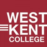 West Kent College logo- West Kent College written in white on a red background. Links to their website..
