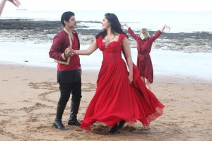 Two actors dancing on Botany Bay beach
