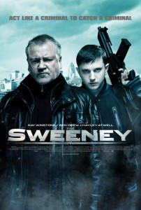 Sweeney written in the centre of the poster on top of an image of the two main actors with guns. London skyline can be seen in background,.