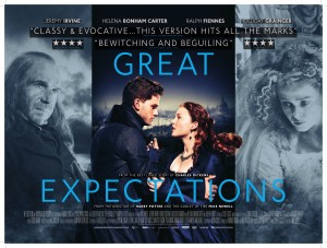 The Great Expectations Movie Poster featuring Ralph Fiennes as Magwitch, Jeremy Irvine as Pip, Holliday Grainger as Estella and Helena Bonham Carter as Miss Havisham- Great Expectations written in blue