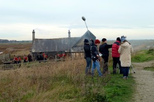 Behind the scenes filming at Oare Marshes- filming crew filming at a house