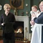 Joanne Froggatt as Anna Bates, Baby George and Di Botcher as Nanny West