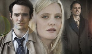 Charles Thoroughgood (CHARLIE COX) in a suit, Anna's face (ROMOLA GARAI) and Viktor Koslov (ANDREW SCOTT)