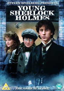 Young Sherlock Holmes written in white with three cast members stood in a row underneath.
