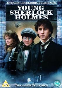 Movie poster for Young Sherlock Holmes featuring L-R Elizabeth Hardy (Sophie Ward), John Watson (Alan Cox) and Sherlock Holmes (Nicholas Rowe)