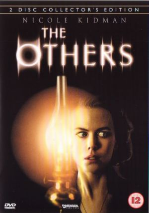 The Others film poster- Nicole kidman holding a lamp looking scared. The others written on top on a black background