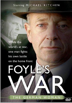 The DVD cover for The German Woman. It has a close up of Detective Foyle's face on the front wearing his suit and hat. To the left of his face are the words'While the worlds at war one man fights his own battle on the home front'