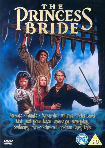 From Left to right: Mandy Patinkin, Andre The Giant (behind), Robin Wright and Cary Elwes. Andre the Giant is holding up the castle gate as the other two men infront of him are holding out their swords ready to fight. The DVD cover has a blue swirly background. On the bottom quater of the cover there is text that reads heroes, Giants, Wizards, Villians , True Love, Not just your basic, average, everyday, ordinary, run of the mill, ho-hum fairy tale.