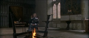King Charles's I (Rupert Everett) sitting in his chamber on a chair
