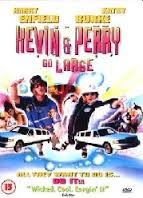 Kevin and Perry Go Large (2000) film poster- montage of images from the film with two white cars on top. Kevin and Perry go large written in pink on top