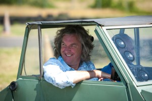 James May and Henri Cogi sitting in a KV Mini 1 microcar, in Landes-Le-Gaulois, France