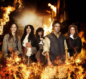 The Great Fire characters L-R Sarah (ROSE LESLIE), Charles II (JACK HUSTON), Sam Pepys (DANIEL MAYS), Thomas Farriner (ANDREW BUCHAN), Lord Denton (CHARLES DANCE)