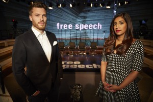 Free Speech presenters Rick Edwards and Tina Daheley