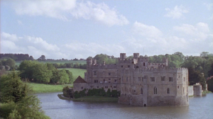 Long shot of Leeds Castle and lake