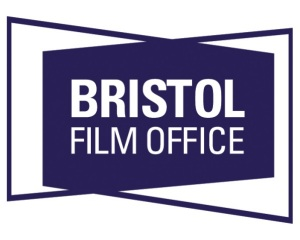 Bristol Film Office Logo- Bristol Film Office in white text, on a blue background shape.