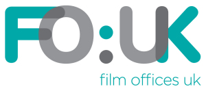 Film Offices UK Logo- FO:UK written in blue and grey text on a white background. Film Office UK written in blue underneath