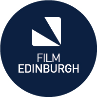 Film Edinburgh Logo- Film Edinburgh written in white text in the middle of a blue circle
