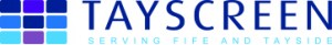 Tayscreen Logo- Tayscreen written in blue on a white background, serving fife and tayside written underneath in a lighter blue. To the right is a square with 9 smaller blue squares inside