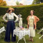 Elizabeth Mapp (MIRANDA RICHARDSON), Emmeline 'Lucia' Lucas (ANNA CHANCELLOR) standing in a garden