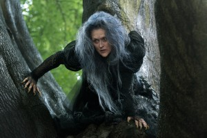 Meryl Streep as the Witch crouched in a tree