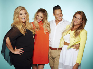 The Only Way Is Essex on ITVBe. Pictured: Gemma Collins, Chloe Sims, Bobby Cole Norris and Georgia Kousoulou standing in a row with their arms around each other laughing