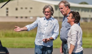 James May, Jeremy Clarkson, Richard Hammond staring into the boot of a car