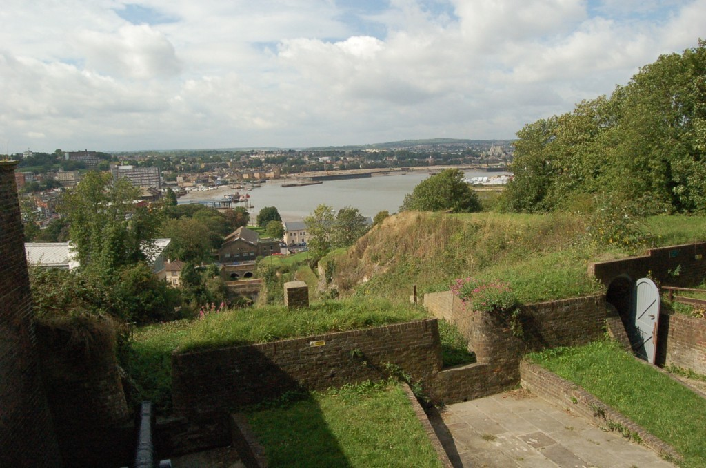 View from Fort Amherst- roofs of houses with the river Medway behind
