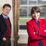 Nicky Campbell and Davina McCall standing in front of a window