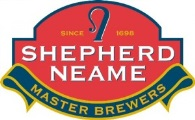 Shepherd Neame Logo- Shepherd Neame written in white on a red background. Master Brewers written in yellow on a blue banner underneath. Links to Their website.