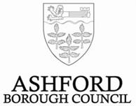 Ashford Borough Council Logo- Ashford Borough Council written in black on a white background with the council crest above featuring leaves. Links to Their website.
