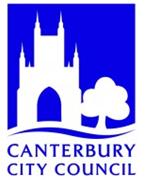 Canterbury City Council Logo- Canterbury City Council written in blue, above is an white outline of canterbury cathedral and a tree on a blue background.Links to Their website.