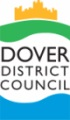 Dover District Council Logo- Dover District Council written in black on a white background. Blue cartoon sea underneath writing with the castle on grass above. Links to Their website.