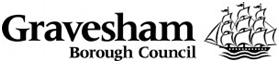 Gravesham Borough Council Logo- Gravesham Borough Council in black writing on a white background. A black and white cartoon ship to the right. Links to Their website.