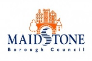 Maidstone Borough Council Logo- Maidstone Borough Council in blue writing on a white background. An orange cartoon image of Maidstone town sits on top. Links to Their website.