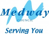 Medway Council Logo- Medway Council Serving You written in blue on a white background, a lighter blue paint brush mark is behind Medway. Links to Their website.