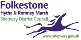 Shepway District Council Logo- Folkestone Hythe and Romney Marsh written in purple on a white background, Shepway District council written underneath in green. Below is a purple horse that has www.shepway.gov.uk written underneath in green. Links to Their website.