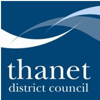 Thanet District Council Logo- Thanet District Council written in white on a blue background. Links to Their website.