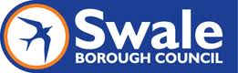 Swale Borough Council Logo- Swale Borough Council written in white on a blue background. A blue bird in a white circle outlined in orange to the left. Links to Their website.