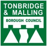 Tonbridge and Malling Borough Council Logo- Tonbridge and Malling Borough Council written in white on a green background. Two white triangles either side of a white rectangle underneath. Links to Their website.