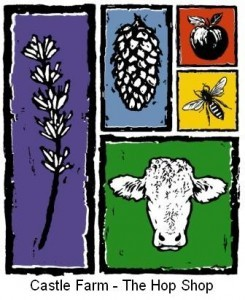 Castle Farm Logo- Castle Farm- The Hop Shop written in black underneath 5 multicoloured squares featuring a cow, plant, pine cone, apple and a bee. Links to Their website.