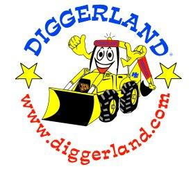 Diggerland Logo- Diggerland written in blue on a white background at the top of a circle, www.diggerland.com written in red at the bottom of the circle. Yellow cartoon digger in the middle. Links to Their website.