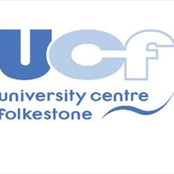 University Centre Folkestone Logo- University Centre Folkestone written in blue on a white background, UCF initials large on top. Links to Their website.
