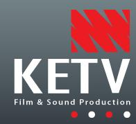 KETV logo- KETV written in white on a grey background. Film & Sounds Production written underneath. A red Squiggle is to the top right of the logo. Links to Their website.
