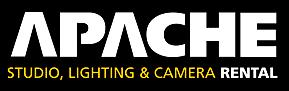 Apache Logo- Apache written in white on a back background. Studio, Lighting & Camera Rental is written underneath in white and yellow.Links to Their website.