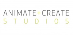 Animate + Create Studios Logo- Animate + Create written in black on a white background with Studios underneath in Brown. Links to Their website.