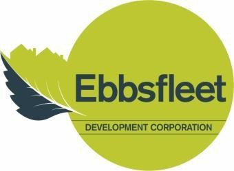 Ebbsfleet Development Corporation Logo- Ebbsfleet Development Corporation written in dark blue in a green circle. A green and Blue leaf is to the left.Links to Their website.