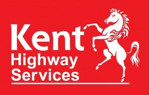 Kent Highways Service Logo- Red background with Kent highways Services written in white to the right with a white Invicta horse to the left. Links to Their website.