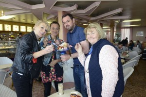 Shirley Carter (LINDA HENRY), Tina Carter (LUISA BRADSHAW WHITE), Mick Carter (DANNY DYER), Aunt Babe (ANNETTE BADLAND) in Morelli's ice cream shop