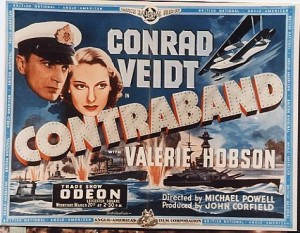 Contraband Film Poster- battle ships in the water firing at each other, two floating heads of the main characters are above. A plane is in the air. Conrad Veidt Contraband is written across the centre