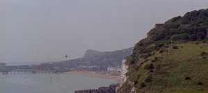 Long shot of dover cliffs and sea